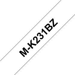 Brother MK231BZ Cinta No Laminada Generica de Etiquetas - Texto negro sobre fondo blanco - Ancho 12mm x 4 metros