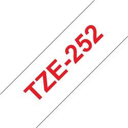 Brother TZe252 Cinta Laminada Generica de Etiquetas - Texto rojo sobre fondo blanco - Ancho 24mm x 8 metros