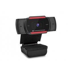 Conceptronic Webcam Full HD 1080p - Microfono Integrado - Enfoque Fijo - Angulo de Visión 65º