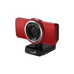 Genius Webcam ECam 8000 Full HD 1080p - Microfono Integrado - Giratoria 360 grados - Color Rojo