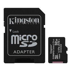 Kingston Tarjeta Micro SDHC 32GB Clase 10 100MB/s Canvas Select Plus + Adaptador SD