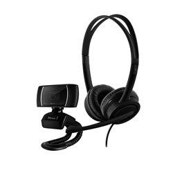 Trust Combo Doba Webcam HD 720p + Auriculares con Microfono USB - Diadema Ajustable