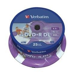 Verbatim DVD+R Doble Capa Printables 8x 8.5GB (Tarrina 25 Uds)