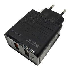 Approx Cargador de Pared de Carga Rapida - 2 Puertos USB