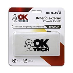 OkTech Bateria Externa/Power Bank 6500mAh - Conectores Lightning y MicroUSB - 5V 2.1A