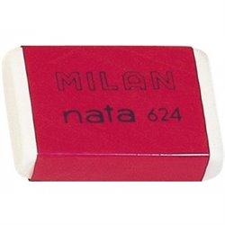 Milan Nata 624 Goma de Borrar - Plastico suave - Versatil - No abrasiva - Color Blanco